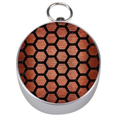 Hexagon2 Black Marble & Copper Brushed Metal (r) Silver Compass by trendistuff