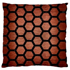 Hexagon2 Black Marble & Copper Brushed Metal (r) Large Flano Cushion Case (one Side) by trendistuff
