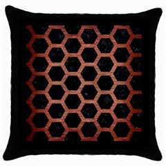 Hexagon2 Black Marble & Copper Brushed Metal Throw Pillow Case (black) by trendistuff