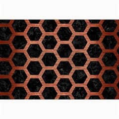 Hexagon2 Black Marble & Copper Brushed Metal Collage 12  X 18  by trendistuff