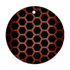 Hexagon2 Black Marble & Copper Brushed Metal Round Ornament (two Sides) by trendistuff