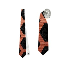 Hexagon2 Black Marble & Copper Brushed Metal Necktie (two Side) by trendistuff