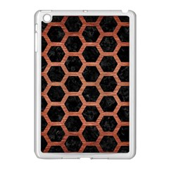 Hexagon2 Black Marble & Copper Brushed Metal Apple Ipad Mini Case (white) by trendistuff