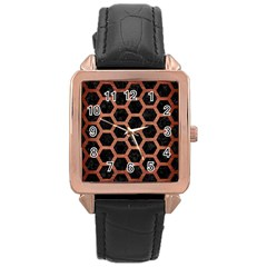 Hexagon2 Black Marble & Copper Brushed Metal Rose Gold Leather Watch  by trendistuff
