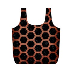 Hexagon2 Black Marble & Copper Brushed Metal Full Print Recycle Bag (m) by trendistuff