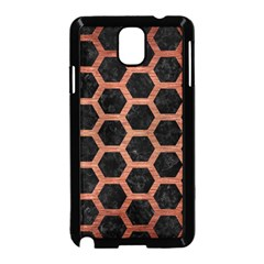 Hexagon2 Black Marble & Copper Brushed Metal Samsung Galaxy Note 3 Neo Hardshell Case (black) by trendistuff