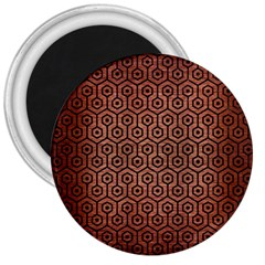 Hexagon1 Black Marble & Copper Brushed Metal (r) 3  Magnet by trendistuff