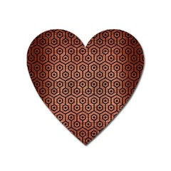 Hexagon1 Black Marble & Copper Brushed Metal (r) Magnet (heart) by trendistuff