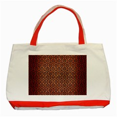 Hexagon1 Black Marble & Copper Brushed Metal (r) Classic Tote Bag (red)