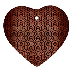 Hexagon1 Black Marble & Copper Brushed Metal (r) Heart Ornament (two Sides) by trendistuff
