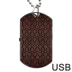 Hexagon1 Black Marble & Copper Brushed Metal Dog Tag Usb Flash (two Sides) by trendistuff