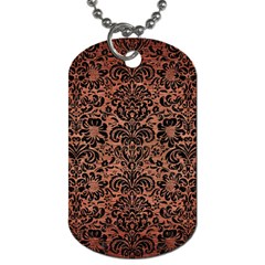 Damask2 Black Marble & Copper Brushed Metal (r) Dog Tag (two Sides) by trendistuff