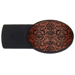 Damask2 Black Marble & Copper Brushed Metal (r) Usb Flash Drive Oval (2 Gb) by trendistuff
