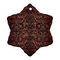 Damask2 Black Marble & Copper Brushed Metal (r) Ornament (snowflake)