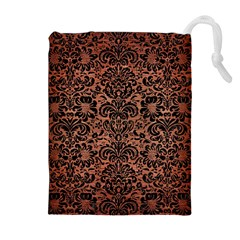 Damask2 Black Marble & Copper Brushed Metal (r) Drawstring Pouch (xl) by trendistuff