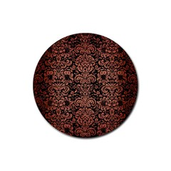 Damask2 Black Marble & Copper Brushed Metal Rubber Round Coaster (4 Pack)