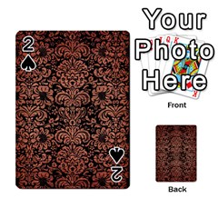 Damask2 Black Marble & Copper Brushed Metal Playing Cards 54 Designs