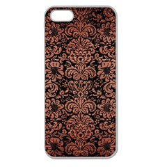 Damask2 Black Marble & Copper Brushed Metal Apple Seamless Iphone 5 Case (clear) by trendistuff