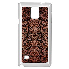 Damask2 Black Marble & Copper Brushed Metal Samsung Galaxy Note 4 Case (white) by trendistuff