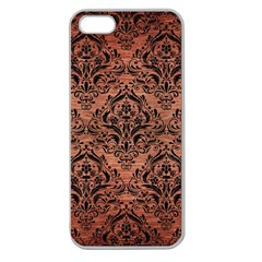 Damask1 Black Marble & Copper Brushed Metal (r) Apple Seamless Iphone 5 Case (clear) by trendistuff
