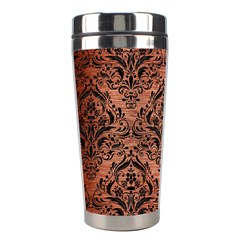 Damask1 Black Marble & Copper Brushed Metal (r) Stainless Steel Travel Tumbler by trendistuff
