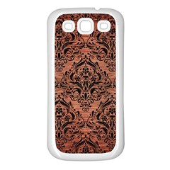 Damask1 Black Marble & Copper Brushed Metal (r) Samsung Galaxy S3 Back Case (white) by trendistuff