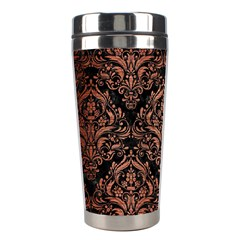 Damask1 Black Marble & Copper Brushed Metal Stainless Steel Travel Tumbler by trendistuff