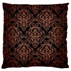 Damask1 Black Marble & Copper Brushed Metal Large Flano Cushion Case (two Sides) by trendistuff