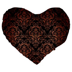 Damask1 Black Marble & Copper Brushed Metal Large 19  Premium Flano Heart Shape Cushion by trendistuff