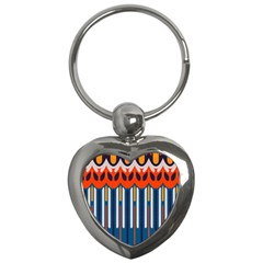 Textured Shapes In Retro Colors    			key Chain (heart) by LalyLauraFLM