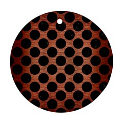 Circles2 Black Marble & Copper Brushed Metal (r) Ornament (round) by trendistuff