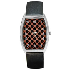 Circles2 Black Marble & Copper Brushed Metal (r) Barrel Style Metal Watch by trendistuff