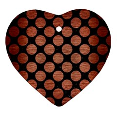 Circles2 Black Marble & Copper Brushed Metal Ornament (heart) by trendistuff