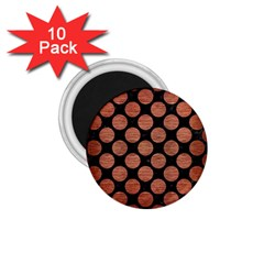 Circles2 Black Marble & Copper Brushed Metal 1 75  Magnet (10 Pack)  by trendistuff