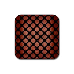 Circles2 Black Marble & Copper Brushed Metal Rubber Square Coaster (4 Pack) by trendistuff