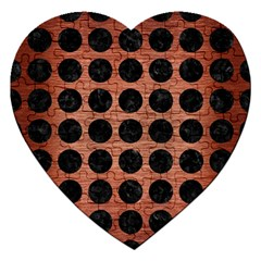 Circles1 Black Marble & Copper Brushed Metal (r) Jigsaw Puzzle (heart) by trendistuff