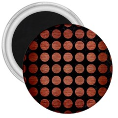 Circles1 Black Marble & Copper Brushed Metal 3  Magnet by trendistuff