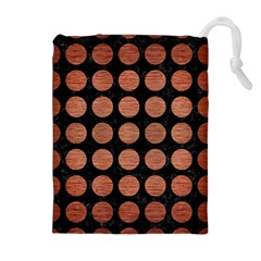 Circles1 Black Marble & Copper Brushed Metal Drawstring Pouch (xl) by trendistuff