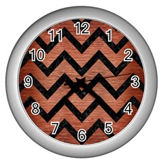 Chevron9 Black Marble & Copper Brushed Metal (r) Wall Clock (silver) by trendistuff
