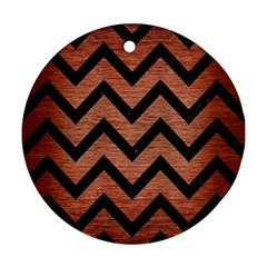 Chevron9 Black Marble & Copper Brushed Metal (r) Round Ornament (two Sides) by trendistuff