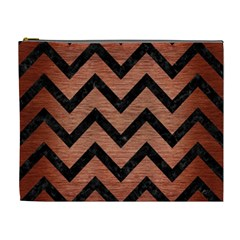 Chevron9 Black Marble & Copper Brushed Metal (r) Cosmetic Bag (xl) by trendistuff