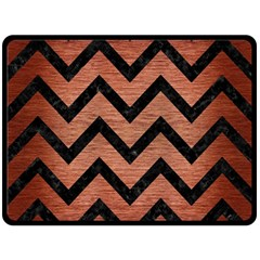 Chevron9 Black Marble & Copper Brushed Metal (r) Fleece Blanket (large) by trendistuff