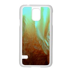 Floating Teal And Orange Peach Samsung Galaxy S5 Case (white) by timelessartoncanvas
