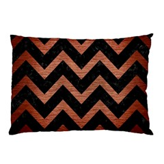Chevron9 Black Marble & Copper Brushed Metal Pillow Case by trendistuff