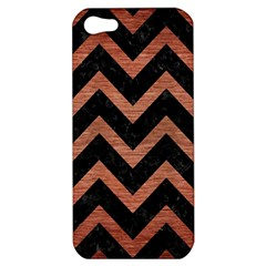 Chevron9 Black Marble & Copper Brushed Metal Apple Iphone 5 Hardshell Case by trendistuff