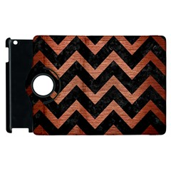 Chevron9 Black Marble & Copper Brushed Metal Apple Ipad 2 Flip 360 Case