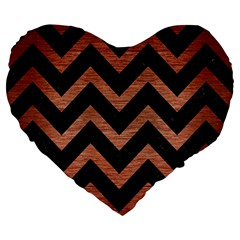 Chevron9 Black Marble & Copper Brushed Metal Large 19  Premium Flano Heart Shape Cushion by trendistuff