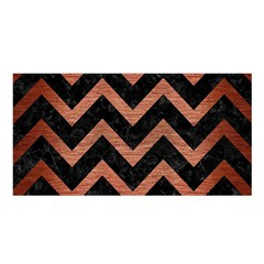 Chevron9 Black Marble & Copper Brushed Metal Satin Shawl by trendistuff