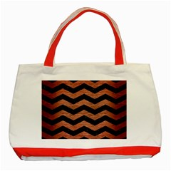 Chevron3 Black Marble & Copper Brushed Metal Classic Tote Bag (red) by trendistuff