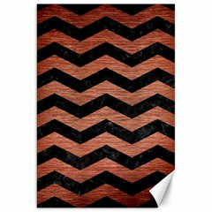 Chevron3 Black Marble & Copper Brushed Metal Canvas 20  X 30  by trendistuff